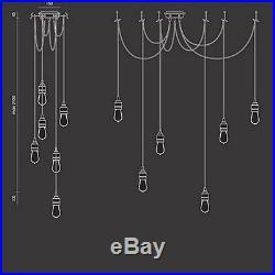 Industrial Vintage Retro E27 Edison Bulb Hanging 6 Lamps Pendant Light Fixture