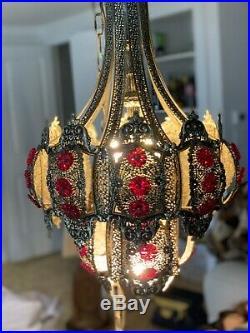 Jeweled filigree Hollywood Regency hanging SWAG lamp chandelier Vintage