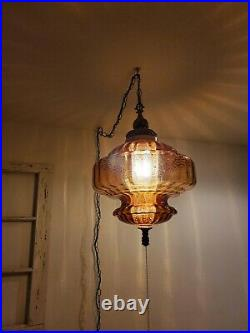 LARGE Amber Glass Swag Hanging Light Mid Century Root Beer Lamp Vintage REWIRED