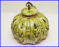LARGE Mid Century Ceramic Cutout Swag Lamp-Green & Gold Vtg Hanging Lamp Shade