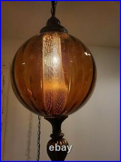 LARGE Vintage Amber Swag Hanging Globe Light Ribbed Glass Plug In Lamp REWIRED