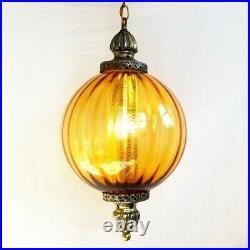 LARGE Vintage MCM Ribbed Globe Hanging Swag Light Lamp Amber Rootbeer Glass