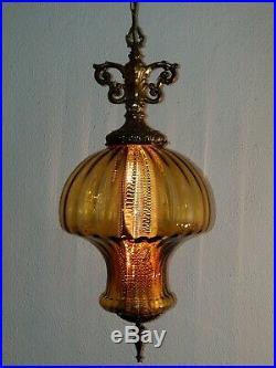 LARGE Vintage Mid Century Mushroom Amber Blown Optic Glass Hanging Swag Lamp