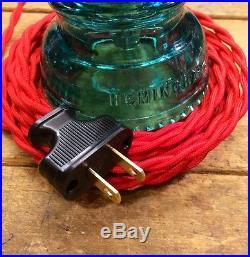 LED Glass Insulator Plug In Pendant Light Industrial Hanging Swag light Vintage