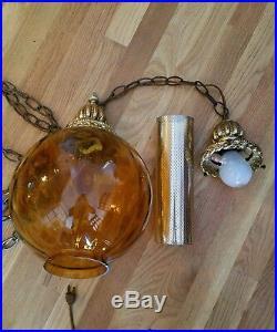 LG Vintage Mid Century AMBER Optic Art Glass Ball Shade Hanging Swag Lamp