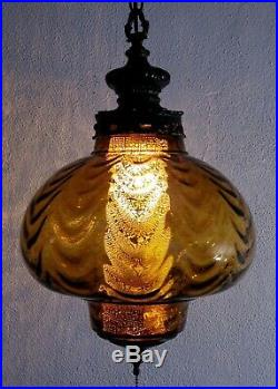 LG Vintage Mid Century Gothic Amber Blown Optic Draped Glass Hanging Swag Lamp