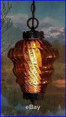 LG Vintage Mid Century Gothic Amber Blown Optic Swirl Glass Hanging Swag Lamp