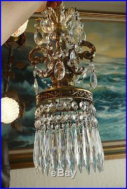 LOT of 2 Vintage baroque hanging Spelter brass plate Lamp Crystal Chandelier