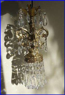 LOTof4 Vintage Spelter Hanging ROCOCO Brass plated lamp Chandelier crystal prism