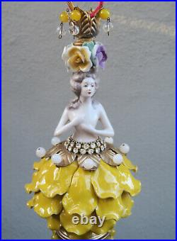 Lady DOLL Porcelain Yellow Flower Fairy SWAG lamp vintage Porcelain Brass crysta