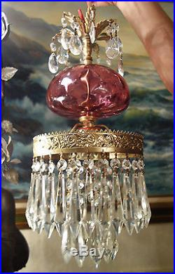 Lamp Chandelier Hanging Glass SWAG CAKE Fenton Cranberry brass tole vintage1of3