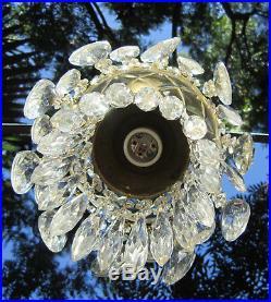Lamp Chandelier SWAG Vintage Glass crystal spelter Cherub hanging brass plateed