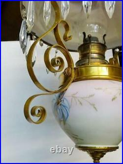 Lamp, Hanging, Victorian Oil Fixture, Bradley and Hubbard, Gorgeous Antique