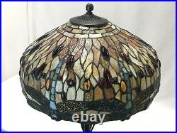 Large 17 Vtg Tiffany Style Dragonfly Stained Glass Lamp Shade Jeweled Red Blue