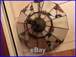Large 24 vintage Stained Leaded Glass Floral Hanging Lamp Shade Light Fixture