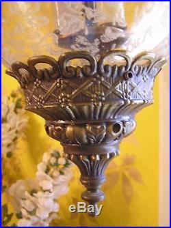 Large Glass Mushroom Shaped Globe Vintage Ceiling Hanging Light Lamp Hollywood