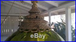 Large Green Globe Swag Lamp Vintage Round Glass & Brass Hanging Light diffuser