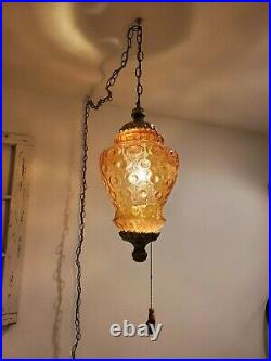 Large VTG Amber Glass Globe Swag Hanging Light Coin Spot Mid Century Lamp Plug