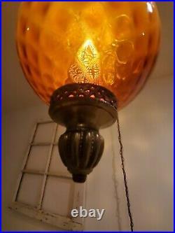 Large VTG Diamond Pattern Amber Glass Globe Hanging Swag Lamp Diffuser Light