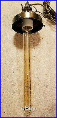 Large Vintage MCM BLUE Cased & Blown Glass Hanging SWAG Lamp