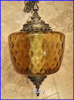 Large Vintage Mid Century Amber Glass Hanging Swag Lamp working