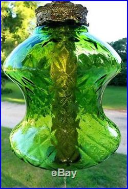 Large Vintage Mid Century Green Diamond Optic Glass Hanging Swag Lamp Light