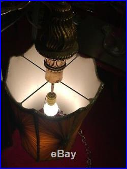 Large Vintage Mid Century Hollywood Regency Swag Hanging Light Lamp Yellow Gold