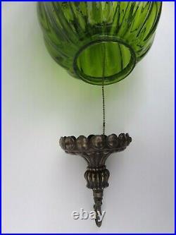 Large Vintage Mid Century Swag Light hanging pendant lamp VTG retro green glass