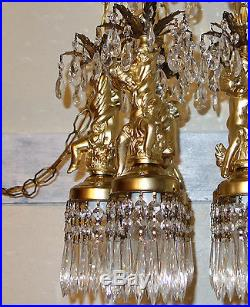Large cake Cherub Brass spelter hanging Ceiling crystal lamp chandelier Vintage