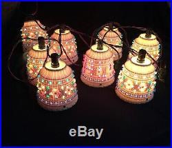 Lawnware Lights Vintage String of 8 RV Patio Tiki Bar Christmas Hanging Lamp