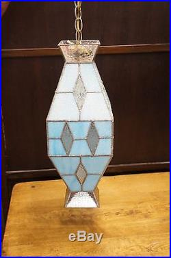 Leaded Slag Glass Hanging Swag Light Diamond Patterned 20 Lamp Mid Century Vtg