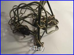 Lg Vintage Mid Century Carl Falkenstein Amber Swag Lamp Hanging Light Art Glass