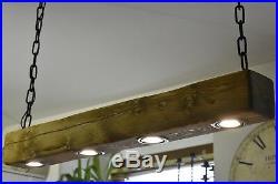 Light Oak Vintage Ceiling Light Hanging Lamp Rustic Farmhouse 4 x LED HANDMADE