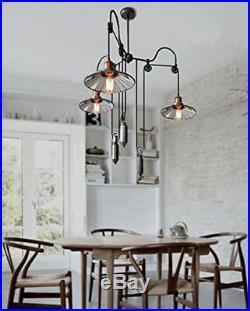 Loft Vintage Pulley Adjustable Ceiling Light 3 Lights Mirror Hanging Lamp Shade