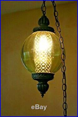 Lrg MCM Vintage olive Glass Hanging Swag Ceiling Lamp Light Hollywood Regency