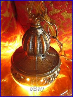 MASSIVE Retro Vtg Amber Glass Hanging Swag Lamp Light Metal Diffuser Hourglass
