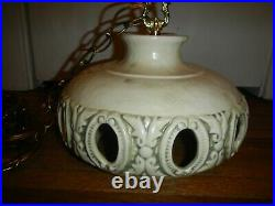 MCM Vintage MOD Ceramic Hanging Swag Lamp Light Chain