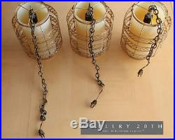 MID CENTURY DANISH MODERN HANGING LIGHTS! Lamp Brass Vtg Atomic Decor Space Age