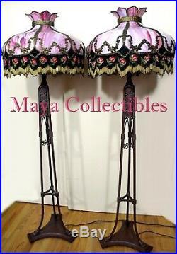 Magnificent Antique Vintage Pink Slag Glass Hanging Lamp Shade Beaded Fringes