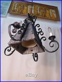 Medieval Gothic Chandelier Wrought Iron Wood Hanging Lamp Rustic Castle Vintage
