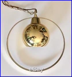 Mid Century Gold Swag Lamp Light Mod Modern Orb Globe Hanging Metal Vtg