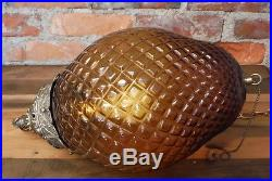 Mid Century Hanging Swag Lamp Vintage Amber Glass Pull Chain Light Fixture EF