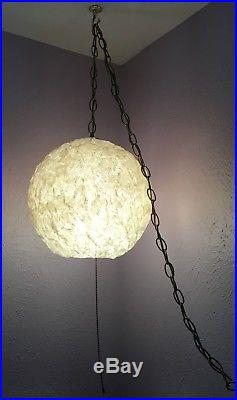 Mid Century MCM Swag Lamp Lucite Round Orb Spaghetti Hanging Light Fixture Vtg