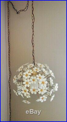 Mid Century Modern 70's Vintage Floral Daisy Cage Chandelier Swag Lamp SUNNY