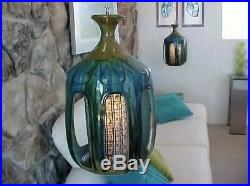Mid Century Modern Blue Swag Drip Glaze Hanging Light Lamp Palm Springs Vintage