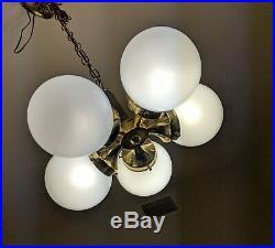 Mid Century Modern Hanging Chandelier Light MCM Vintage Ceiling Lamp 5 Globes
