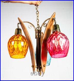 Mid Century Modern Hanging Lamp Pendant Wood Colored Glass Vintage Danish 60s VG