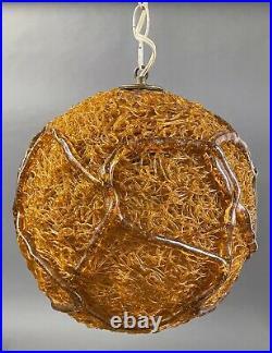 Mid Century Orange Spaghetti Swag Lamp Vintage Ribbon Lucite Round Hanging Light