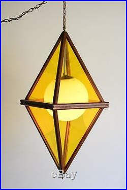 Mid Century Pendant Light Hanging Ceiling Lamp Large Teak Yellow Vintage