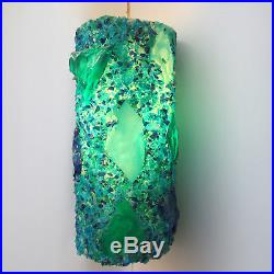Mid Century Swag Lamp Blue Green Hanging Light Chunky Lucite Plastic Vintage